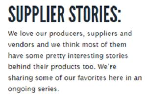 Supplier stories